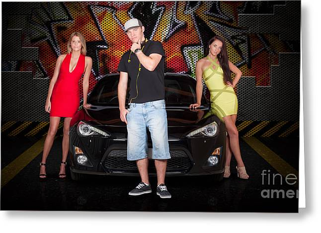 Group Of Young People Beside Black Modern Car Greeting Card by Jorgo Photography - Wall Art Gallery