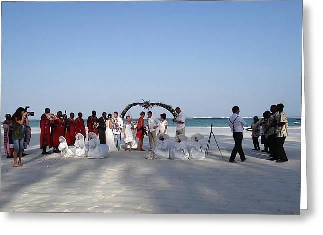 Group Wedding Photo Africa Beach Greeting Card