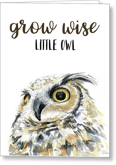 Grow Wise Little Owl Greeting Card by Olga Shvartsur