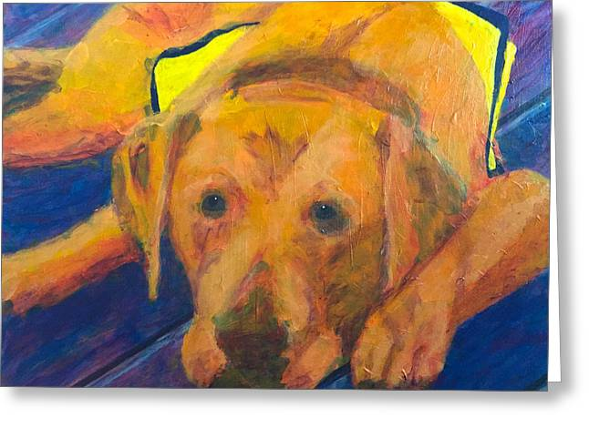 Greeting Card featuring the painting Growing Puppy by Donald J Ryker III