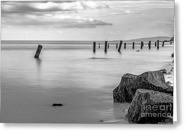 Groynes At Old Colwyn Greeting Card by Chris Evans