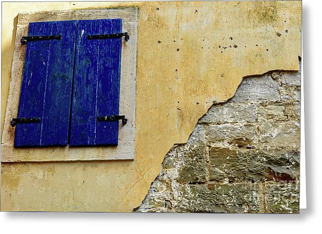 Groznjan Istrian Hill Town Stonework And Blue Shutters  - Istria, Croatia Greeting Card