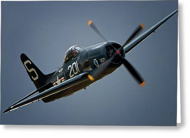 Cats Show Greeting Cards - Grumman F8F Bearcat 201   2011 Chino Air Show Greeting Card by Gus McCrea