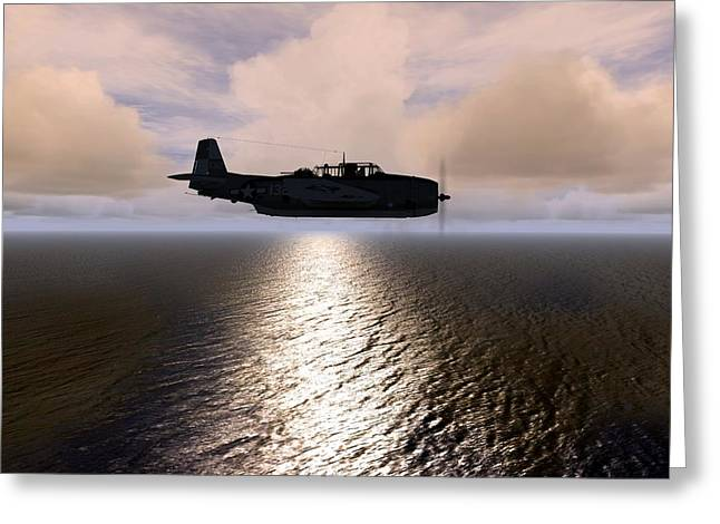 Greeting Card featuring the digital art Grumman Tbf 01 by Mike Ray