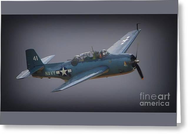 Grumman Tbf Avenger No.41 Bluegray Greeting Card by Gus McCrea