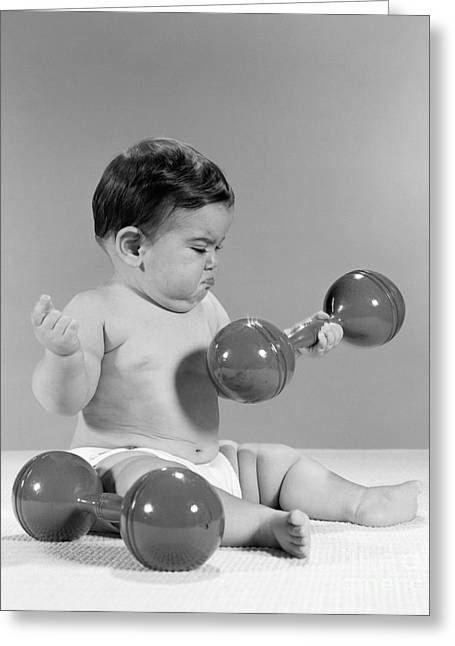 Grumpy Baby Lifting A Dumbbell, C. 1960s Greeting Card