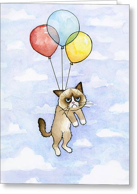 Grumpy Cat And Balloons Greeting Card