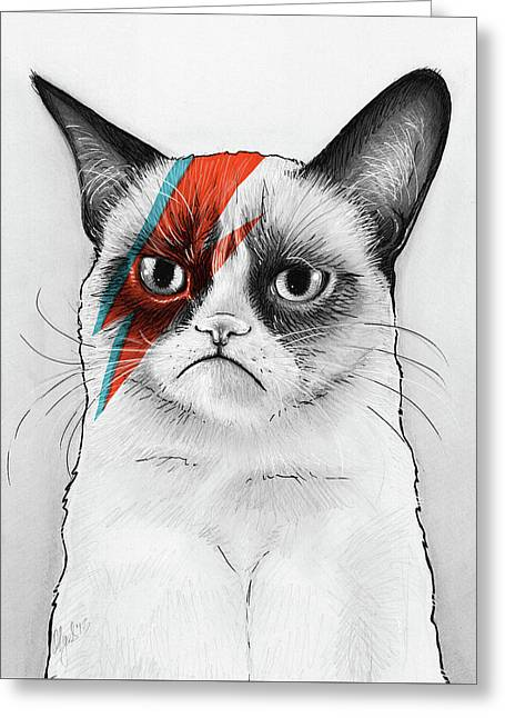 Grumpy Cat As David Bowie Greeting Card