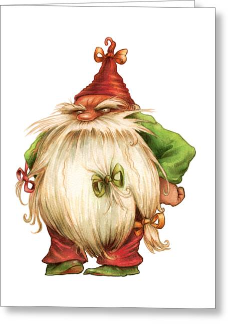 Grumpy Gnome Greeting Card by Andy Catling