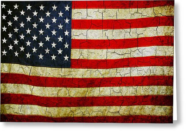 Grunge American Flag  Greeting Card