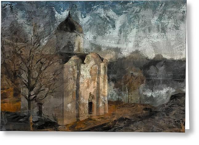 Grunge Church On River Greeting Card by Yury Malkov
