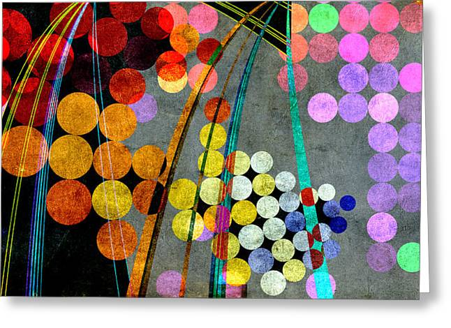 Greeting Card featuring the digital art Grunge City Lights by Fran Riley