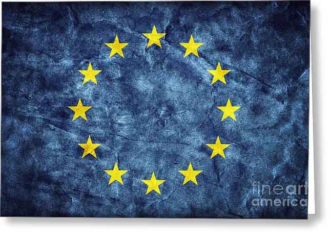 Grunge European Union Flag Greeting Card by Michal Bednarek