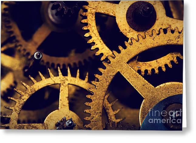 Grunge Gear Cog Wheels Background Greeting Card by Michal Bednarek