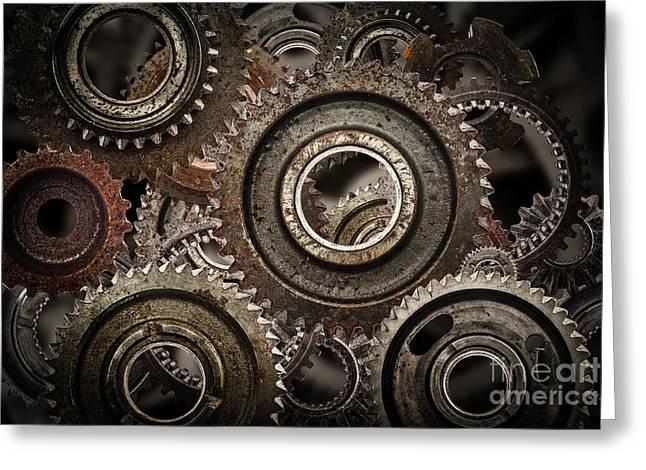 Grunge Gear, Cog Wheels Mechanism Background.. Industry, Science Greeting Card by Michal Bednarek