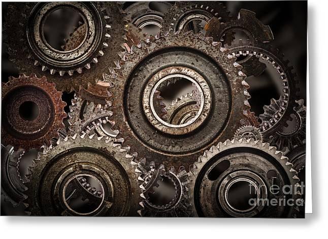 Grunge Gear, Cog Wheels Mechanism Background Greeting Card by Michal Bednarek