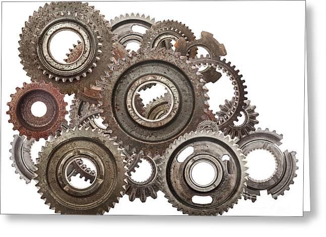 Grunge Gear, Cog Wheels Mechanism Isolated On White. Industry, Science Greeting Card by Michal Bednarek