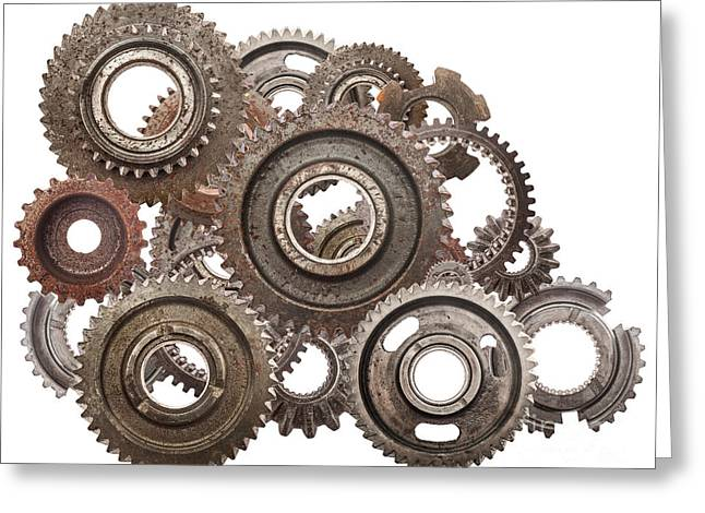 Grunge Gear Cog Wheels Mechanism Isolated On White Greeting Card by Michal Bednarek