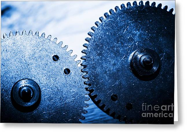 Grunge Gear Cog Wheels Greeting Card by Michal Bednarek
