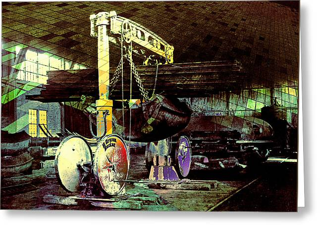 Greeting Card featuring the photograph Grunge Hydraulic Lift by Robert G Kernodle