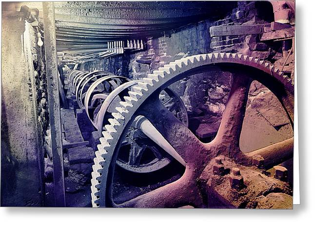 Grunge Large Gear Greeting Card