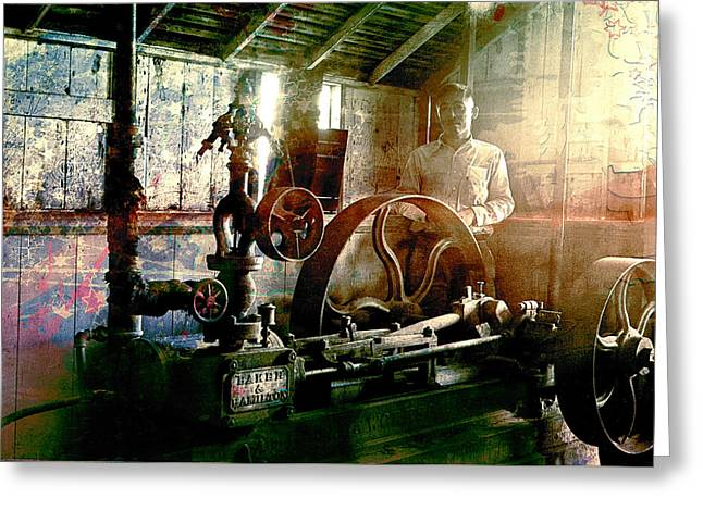 Greeting Card featuring the photograph Grunge Meyer Mill by Robert G Kernodle