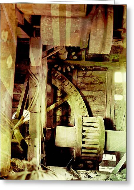 Greeting Card featuring the photograph Grunge Mill Wheels by Robert G Kernodle