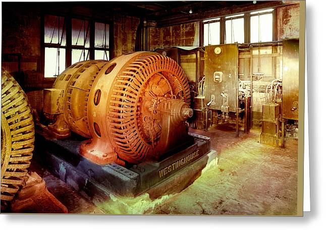 Greeting Card featuring the photograph Grunge Motor Generator by Robert G Kernodle