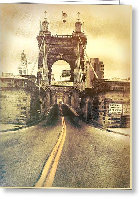 Grunge Roebling Bridge Cincinnati Greeting Card by Dan Sproul