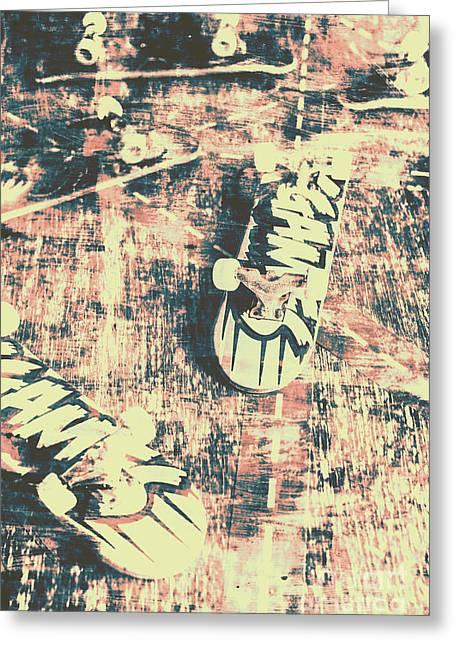 Grunge Skateboard Poster Art Greeting Card by Jorgo Photography - Wall Art Gallery