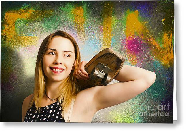 Grunge Skateboarding Girl On Graffiti Wall Greeting Card