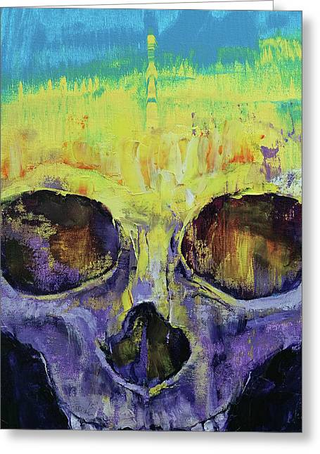 Grunge Skull Greeting Card by Michael Creese