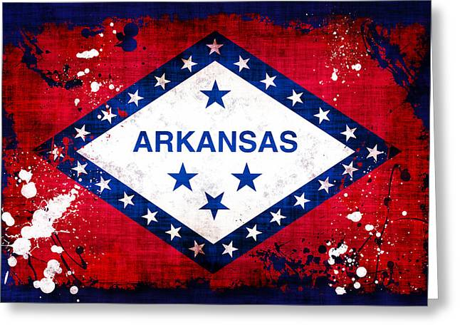 Grunge Style Arkansas Flag Greeting Card by David G Paul
