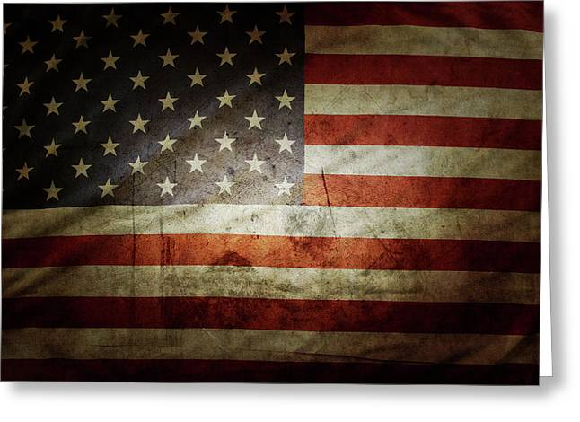 Grunge Usa Flag Greeting Card by Les Cunliffe