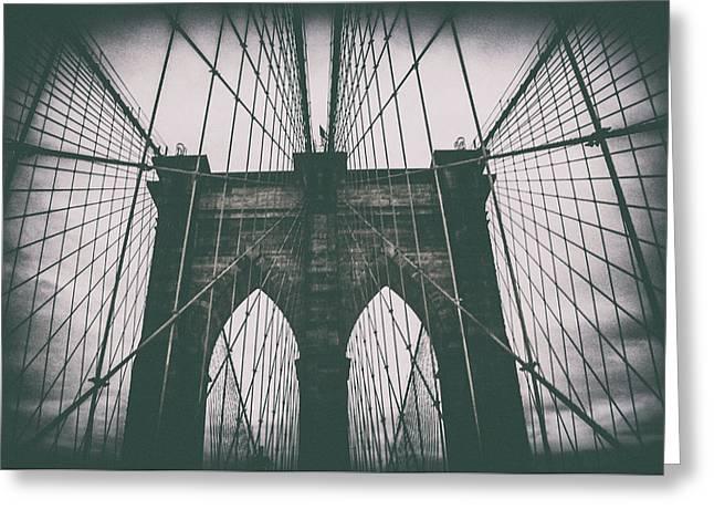 Grungey Brooklyn Bridge Greeting Card by Martin Newman