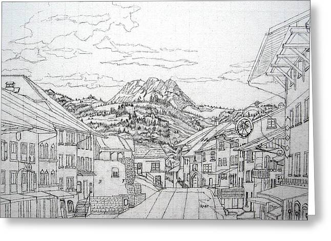 Gruyeres Switzerland Greeting Card by Mike Rabe