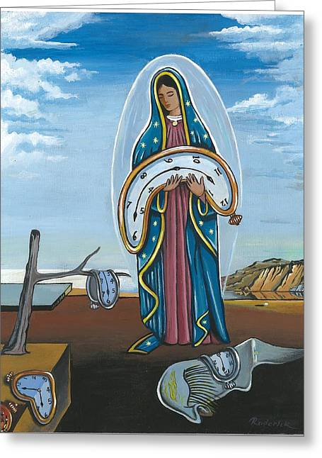 Guadalupe Visits Dali Greeting Card by James Roderick
