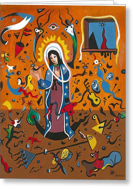 Guadalupe Visits Miro Greeting Card