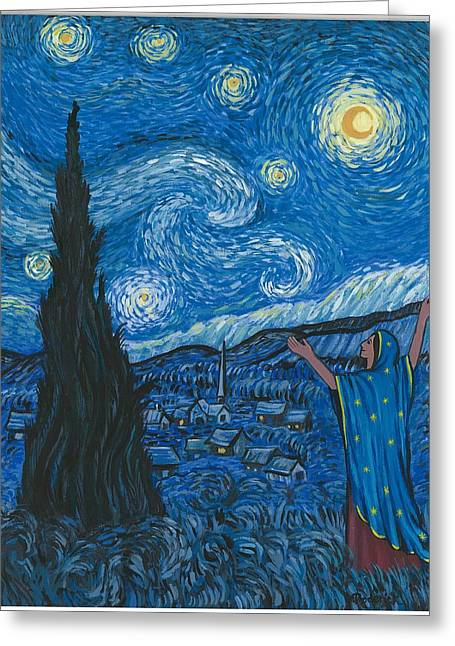 Guadalupe Visits Van Gogh Greeting Card by James Roderick