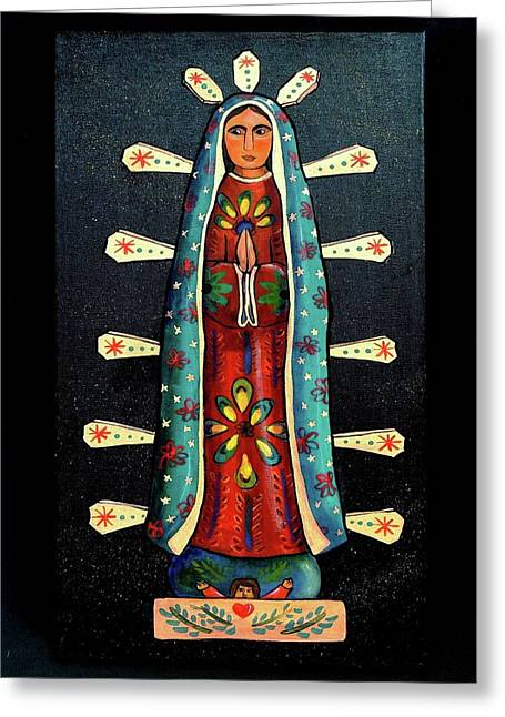 Guadalupe Wood Carving Greeting Card by Candy Mayer
