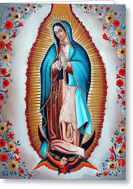 Guadalupe's Virgin Greeting Card by Jose Luis Montes