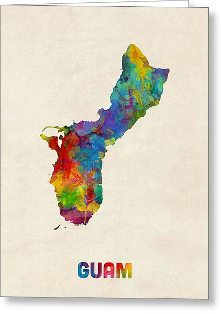 Guam Watercolor Map Greeting Card by Michael Tompsett