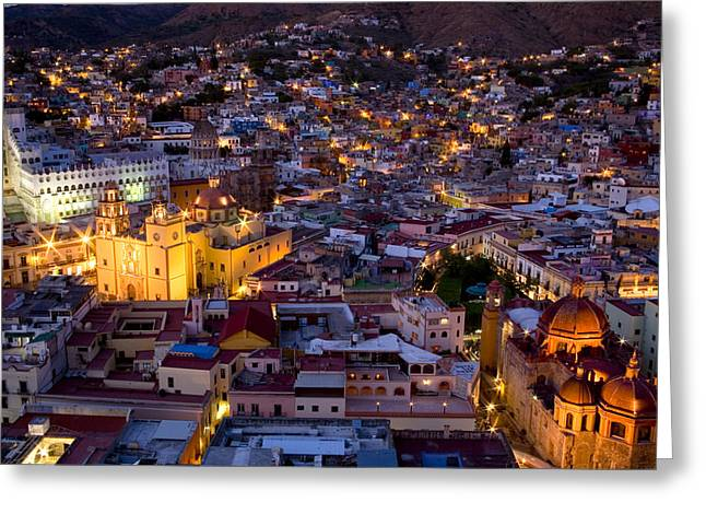 Urban And Suburban Ways Of Life Greeting Cards - Guanajuato Lit Up At Night Greeting Card by David Evans