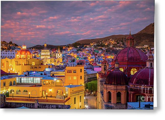 Guanajuato Twilight Panorama Greeting Card by Inge Johnsson