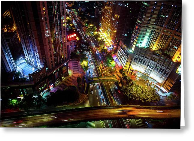 Guangzhou City Streets At Night Greeting Card