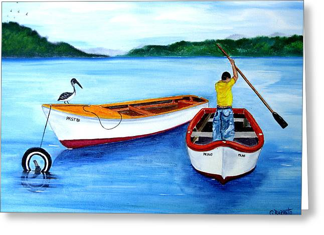 Guanica Fisherman Greeting Card by Gloria E Barreto-Rodriguez