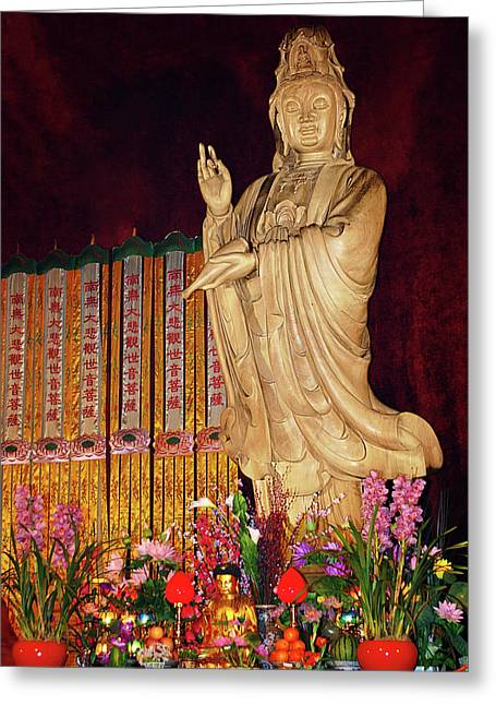 Kuan Greeting Cards - Guanyin Bodhisattva - Jinans rare female Buddha Greeting Card by Christine Till