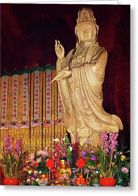 Guanyin Bodhisattva - Jin'an's Rare Female Buddha Greeting Card by Christine Till