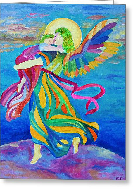 Guardian Angel Holding A Child Greeting Card