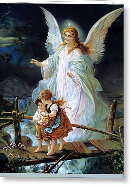 Guardian Angel Watching Over Children On Bridge Greeting Card by Lindberg